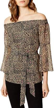 Karen Millen Leopard Print Off-the-Shoulder Top