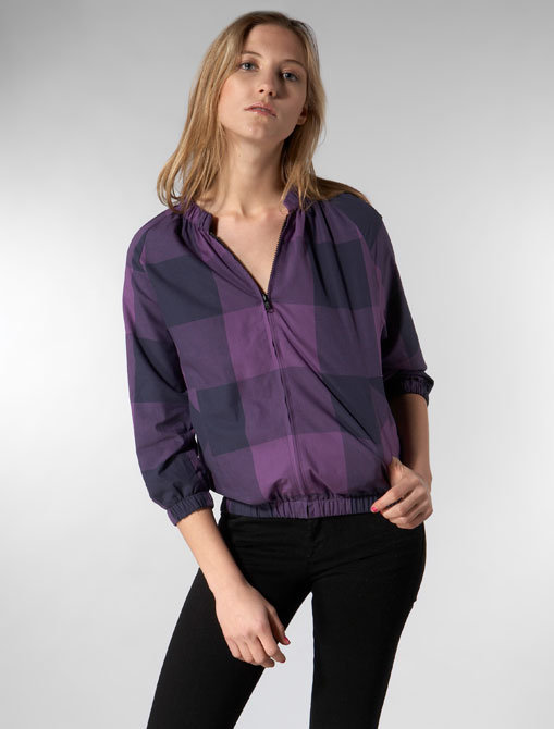 Built by Wendy Buffalo Madras Cropped Bomber in Purple/ Navy