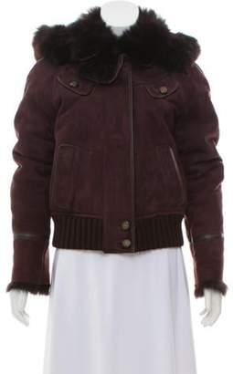 Gucci Hooded Shearling Jacket Purple Hooded Shearling Jacket