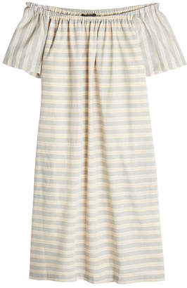 Steffen Schraut Striped Off-Shoulder Cotton Dress