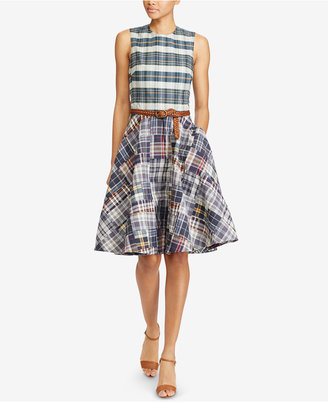 Polo Ralph Lauren Madras Cotton Fit & Flare Dress $265 thestylecure.com