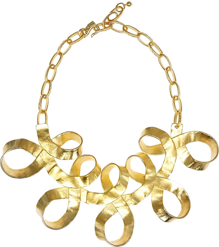 Kenneth Jay Lane Gold-plated ribbon necklace