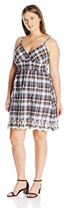 She's Cool Juniors Strap Plaid Eyelet Hem Dress