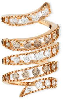 Fratelli Staurino 18k Rose Gold Coiled Diamond Flex Ring