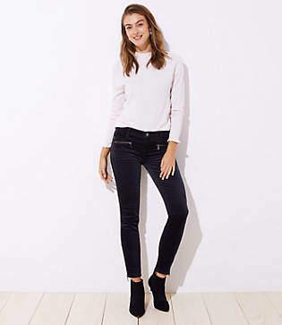 LOFT Petite Modern Velvet Ankle Zip Skinny Jeans