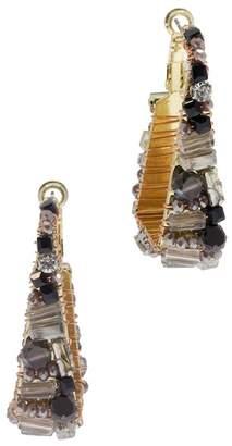 Saachi Pharaoh Gray Beaded 51mm Geometric Hoop Earrings