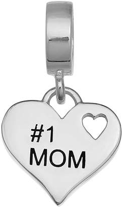 """Individuality Beads Sterling Silver """"#1 Mom"""" Heart Charm"""