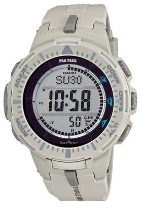 Casio Men's Pro Trek Solar Powered Triple-Sensor Watch with Light Grey Strap