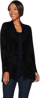 Susan Graver Burnout Velvet Long Sleeve Cardigan