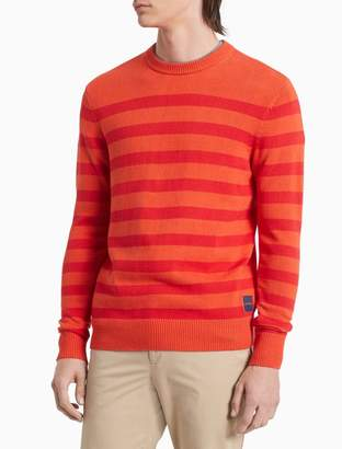 Calvin Klein Regular Fit Stripe Logo Crewneck Sweater