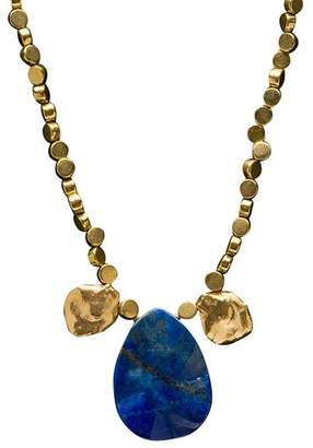 Brass Fusion Russian Lapis & Pearl Impression Necklace