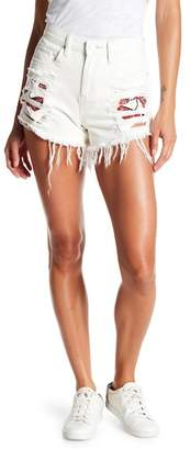 Blank NYC BLANKNYC Embroidered Destroyed Denim Shorts