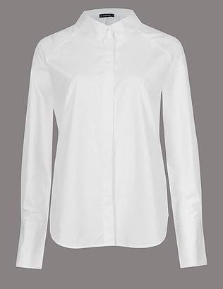 Marks and Spencer Pure Cotton Ruched Poplin Long Sleeve Shirt