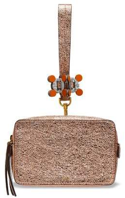 eb714441a3 Anya Hindmarch Stack Color-Block Metallic Cracked-Leather Clutch