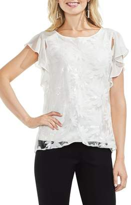 Vince Camuto Embroidered Sequin Ruffle Sleeve Blouse