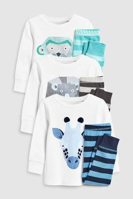 Next Boys White/Blue Animal Snuggle Pyjamas Three Pack (9mths-8yrs)
