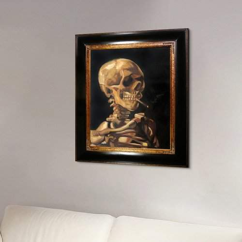 Tori Home Skull of a Skeleton with Burning Cigarette by Vincent Van Gogh Framed Painting