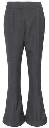 Cropped wool and cotton trousers