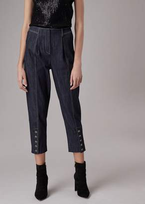 Giorgio Armani Stretch Denim Pants With Buttons At The Hem