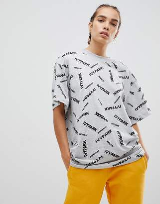 Ivy Park Scatter Logo T-Shirt In Gray