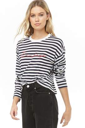 Forever 21 Sundaze Graphic Striped Tee