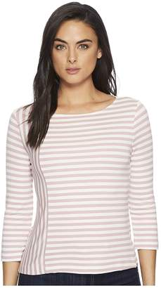 Three Dots Cape Cod Stripe 3/4 Sleeve Top w/ Zipper Detail Women's Clothing