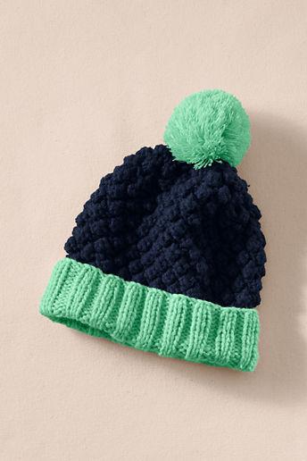 Lands' End Canvas Women's Chunky Knit Pom-Pom Hat