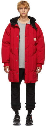 R 13 Red Sherpa Hood Down Jacket