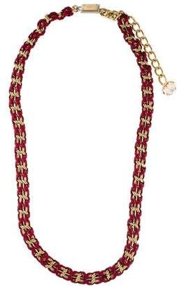 Dolce & Gabbana Crystal & Leather Chain-Link Necklace