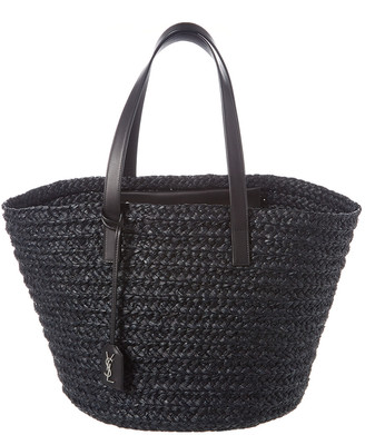 Saint Laurent Medium Panier Woven Raffia Tote