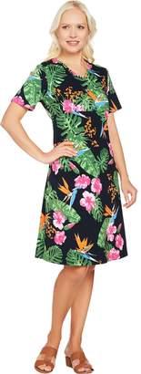 Denim & Co. Short Sleeve V Neck Empire Waist Tropical Print Dress