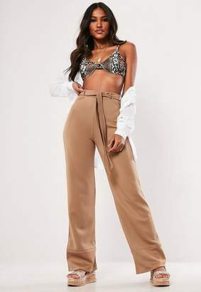 Missguided Camel Contrast Tie Wide Leg Trousers, Camel