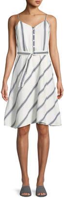 Rag & Bone Doris Striped Cotton/Linen Button-Front Dress