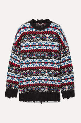 R 13 Oversized Distressed Fair Isle Cashmere Sweater - Blue