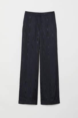 H&M Wide-leg Silk-blend Pants - Green