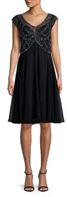 J Kara Beaded A-Line Dress