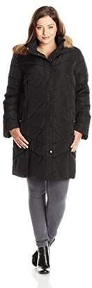 Tommy Hilfiger Women's Plus-Size Chevron Down Coat with Faux Fur-Trimmed Hood