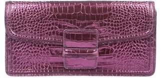 Dries Van Noten Metallic Embossed Leather Clutch