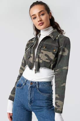 Glamorous Camo Denim Jacket Khaki Camo