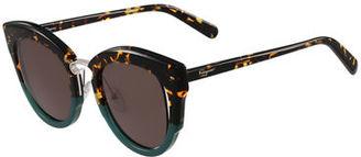 Salvatore Ferragamo Cutout Monochromatic Cat-Eye Sunglasses $376 thestylecure.com