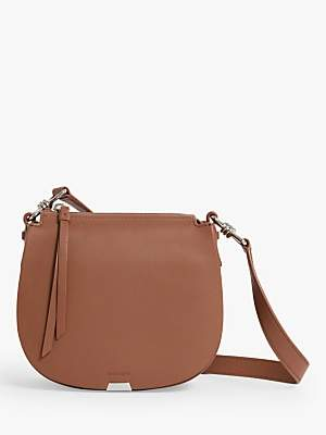 aa43e099b6 at John Lewis and Partners · AllSaints Captain Small Round Leather Cross  Body Bag, Chocolate Brown