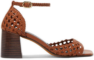 304c32004 Souliers Martinez - Procida Woven Leather Sandals - Tan