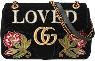 GG Marmont embroidered velvet shoulder bag $2,700 thestylecure.com