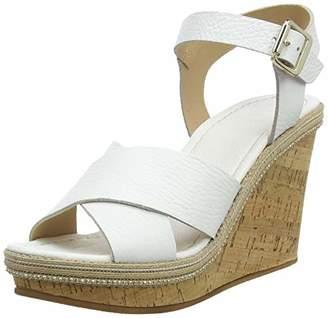 Dune Women's Karllotta Ankle Strap Sandals, White-Leather, 5 (38 EU)