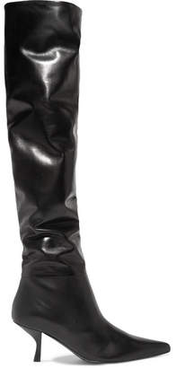The Row Bourgeoise Leather Knee Boots - Black