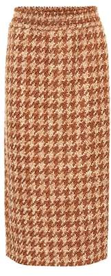 Miu Miu Houndstooth wool-blend tweed skirt