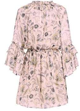 Shoshanna Minoa Silk Floral Tier-Sleeve Mini Dress