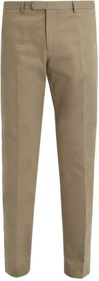 Gucci Bee-embroidered slim-leg stretch-cotton trousers