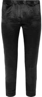 Ann Demeulemeester Cropped Satin Slim-leg Pants - Black