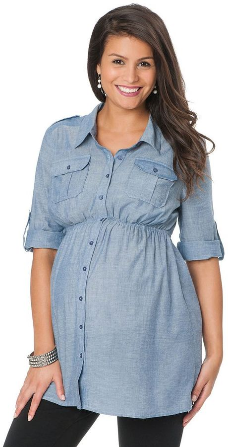 Oh Baby by motherhood TM empire chambray tunic - maternity